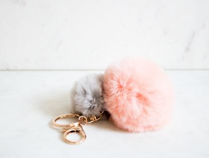 Pink and Grey Fluffy Pom Pom Keyring