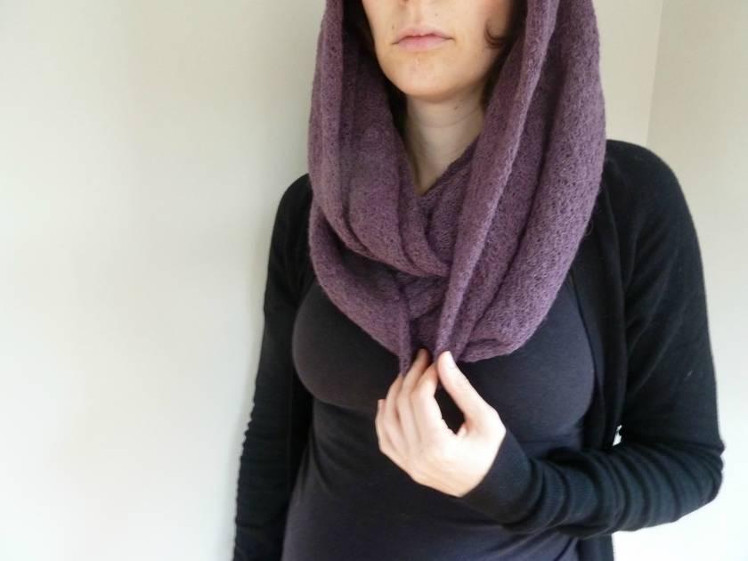 SALE 25% off - Infinity (loop) scarf - Purple mohair/alpaca/wool blend fabric