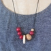 """""""cherry slice"""" asymetrical wooden bead necklace"""