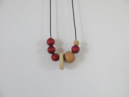 """cherry slice"" asymetrical wooden bead necklace"