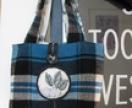 tartan wool blanket handbag with floral lining
