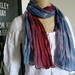 Indigo hand dyed cotton ombre scarf