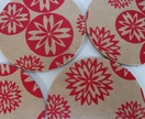 Wooden Coasters - flower design - red