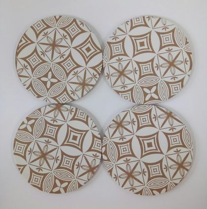 Wooden Coasters - white pacific circle design