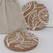 Wooden Coasters - white leaf design