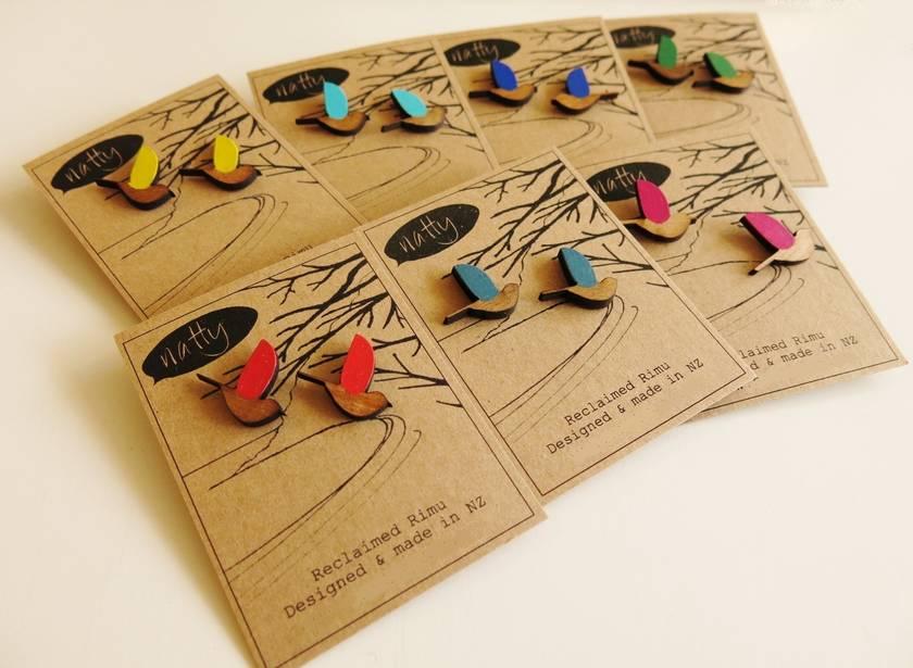 Bird earrings -reclaimed rimu