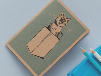 The Cat's Out of the Bag Card
