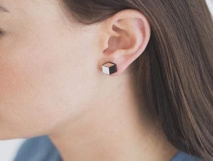 Cube earrings -reclaimed rimu