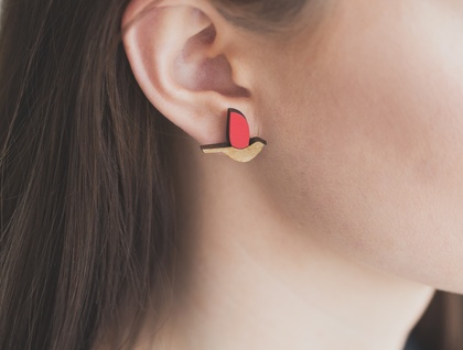 Bird earrings -reclaimed rimu