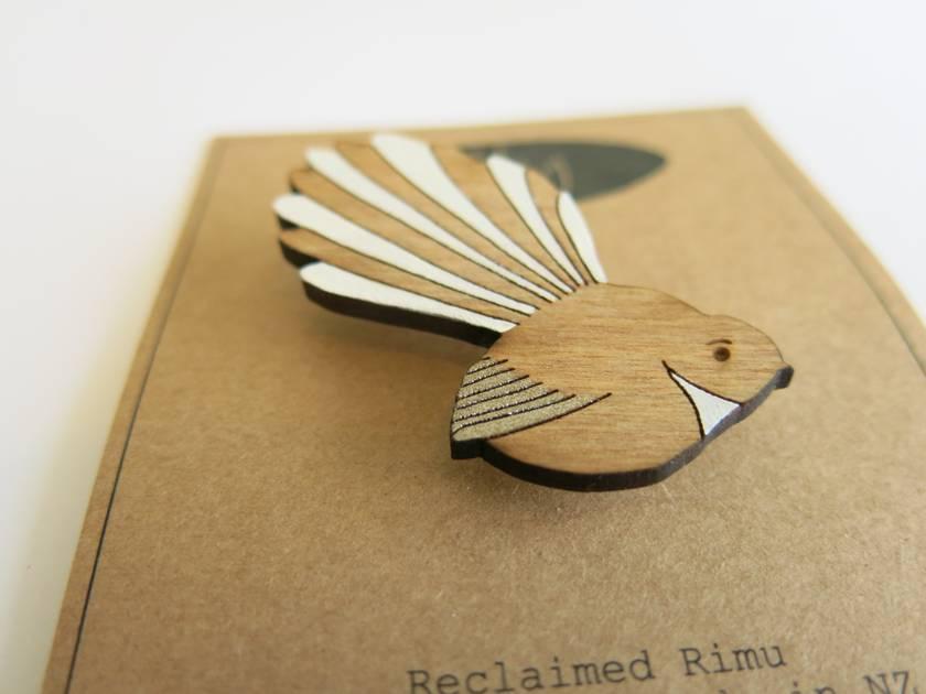 Fantail Pīwakawaka brooch - reclaimed rimu