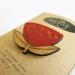 Pohutukawa brooch - reclaimed rimu