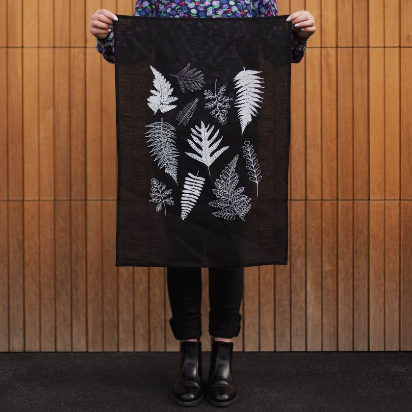 Fern Print Black Linen Tea towel