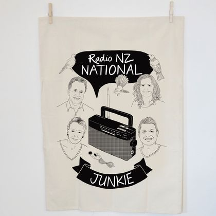 Radio NZ National Junkie Tea towel