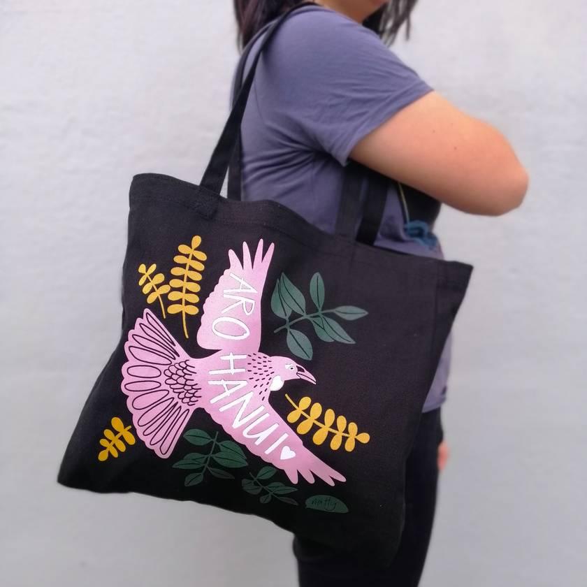 Aroha nui Tui Black Tote Bag