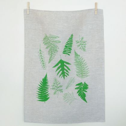 Fern Print Linen Tea towel