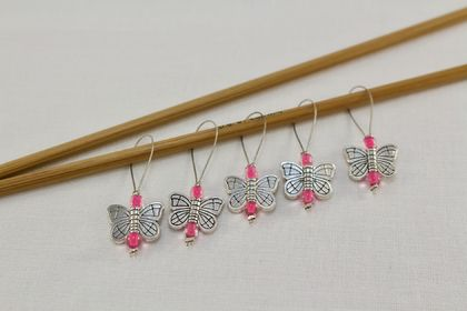 5 Bright Pink Metal Butterfly Knitting Stitch Markers