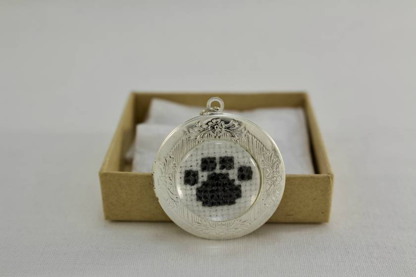Paw Print Cross Stitch Locket Necklace