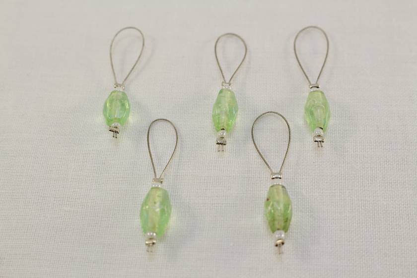 5 Green Glass Stitch Markers