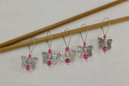 5 Dark Pink Metal Butterfly Knitting Stitch Markers