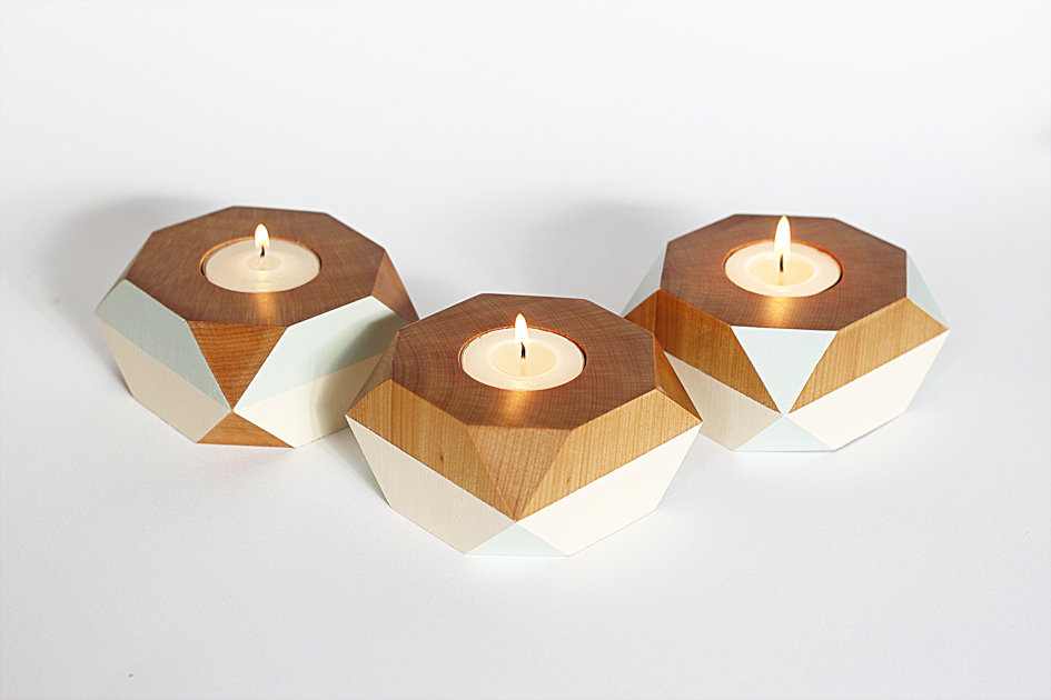 Geometric wooden candle holder felt Wood candle holders