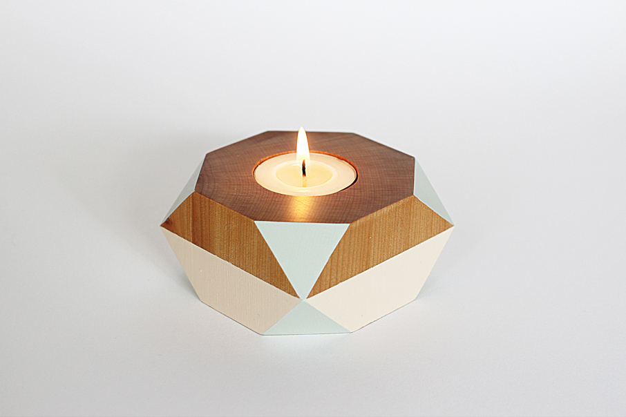Geometric Wooden Candle Holder Felt