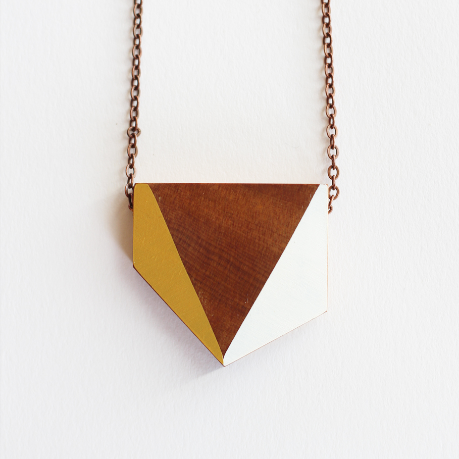 Geometric wooden necklace felt for How to make a wooden pendant
