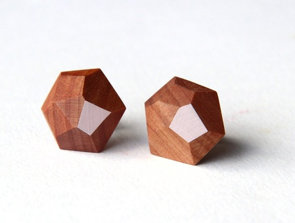 Faceted wooden earrings