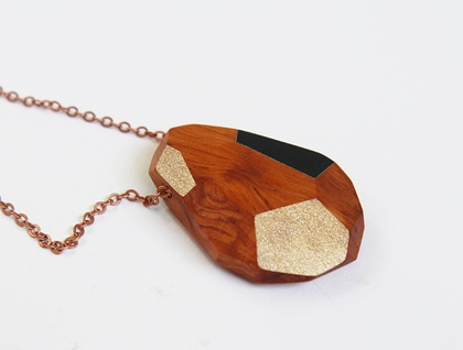 Faceted wooden necklace — large