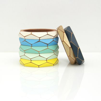 Thin geometric wooden bangle (65mm)