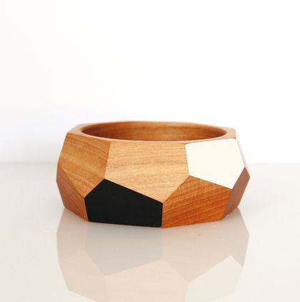 Geometric wooden bangle — choose your colours