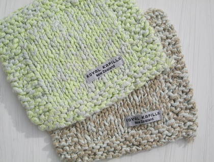 100% ITALAIN COTTON HAND KNITTED FACECLOTHS Natural & Lime Marle BY KOYAL KAPILLA NZ