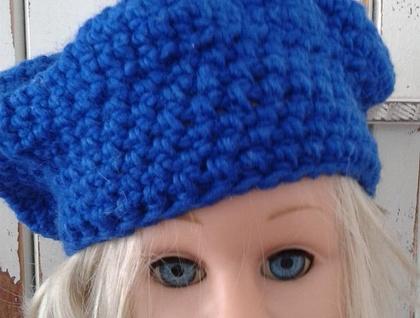 Blue 100% Wool Beret Beanie Crochet