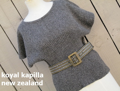 CHARCOAL MARLE vintage retro inspired KNITTED TOP BY KOYAL KAPILLA NEW ZEALAND