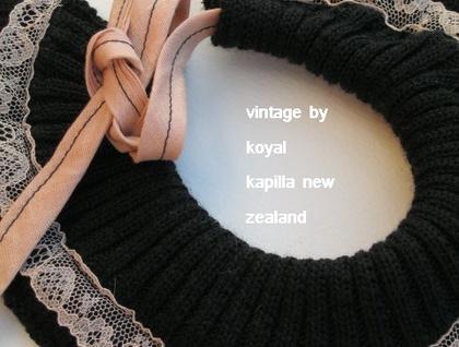 Black Merino Vintage Lace Choker by KOYAL KAPILLA NEW ZEALAND