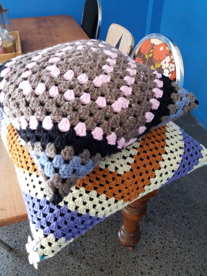 Crochet Chunky Cushion 100% Wool,