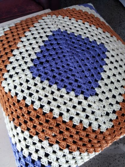Large Retro 100% Wool Crochet Cushion with cross on back