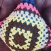 Brights crochet cushion 100% wool