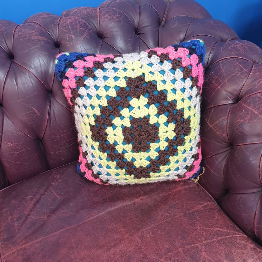 Brights crochet cushion 100% wool