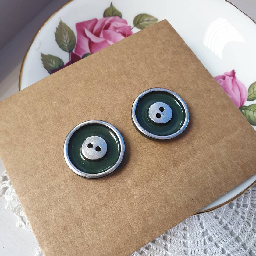 Large green silver 1940's  button earrings