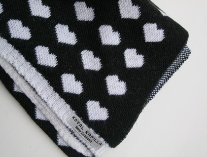 "SALE $49 !!""hearts"" Merino Super Soft Fine Wool Baby Blanket by Koyal Kapilla NZ"