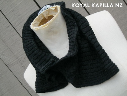 Retro vintage inspired Merino Black Neck Collar Scarf by Koyal Kapilla NZ