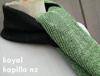 custom made binary coded scarve & hat by koyal kapilla nz