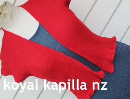 "Funky Bright Red ""Crop Jacket"" by Koyal Kapilla New Zealand"