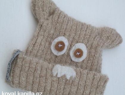 """Mr Moosh"" knitted Merino Mohair face felted Beanie by Koyal Kapilla NZ"