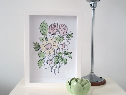 Vintage Flower Posy A4 Limited Edition Screenprint
