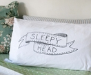 'Sleepy Head' Hand Screenprinted Pillowcase for Kids