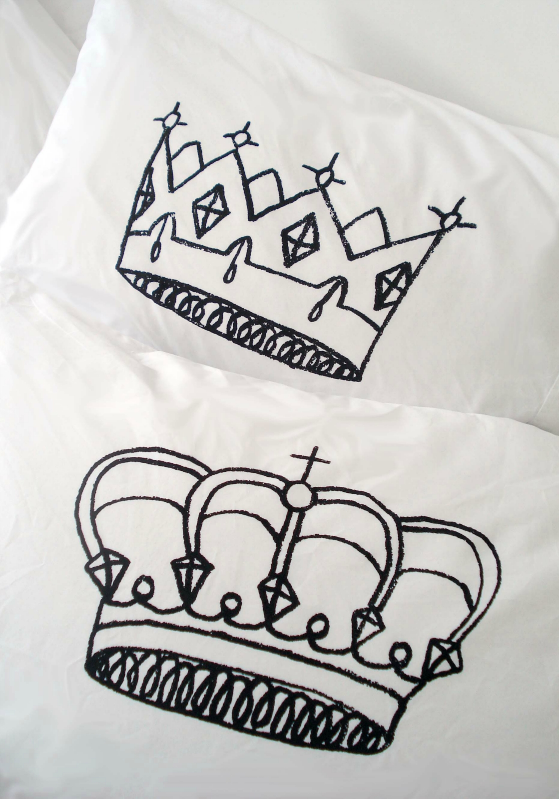 King Amp Queen Pillowcase Set Hand Screenprinted Felt