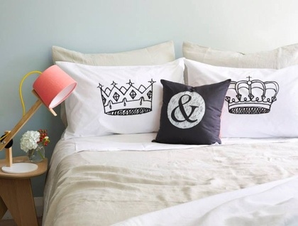 King & Queen Pillowcase Set - Hand Screenprinted!