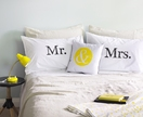 Mr. & Mrs. Pillow cases - Hand Screenprinted!