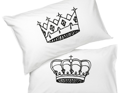 King & Queen Pillowcase Set - Hand Screenprinted!